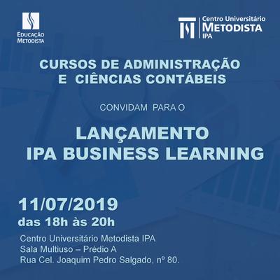 Cursos de Administração e Contábeis convidam para o lançamento do IPA Business Learning