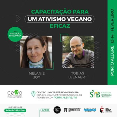 IPA sediará curso sobre veganismo e proteção animal com Melanie Joy e Tobias Leenaert