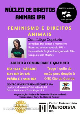 Palestra do IPA discute feminismo e direitos dos animais