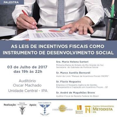 Curso de Ciências Contábeis do IPA promove palestra sobre Leis de Incentivos Fiscais
