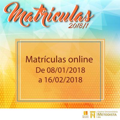 Períodos de Matrículas para 2018/1 inicia na próxima 2º feira (8)
