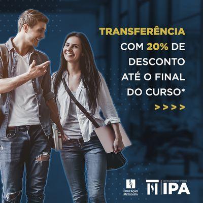 Faça transferência para o IPA e conquiste descontos de 20%