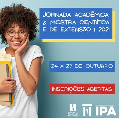 Abertas as inscrições para a II Jornada Acadêmica do IPA que ocorrerá de 24 a 27/10.