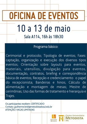 Curso de Turismo promove Oficina de Eventos gratuita!